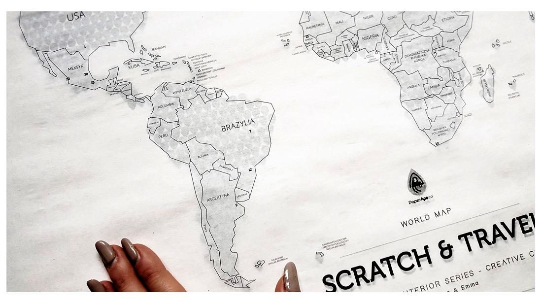 Mapa Zdrapka LOFT BLACK©, Mapka Zdrapka